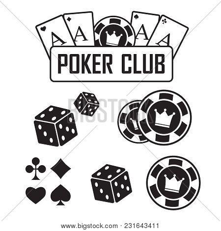 Lucky Seven Jackpot. Poker Club And Casino Vector Sign Set