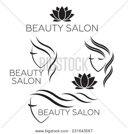 Beautiful Woman Logo Template For Hair Salon, Beauty Salon, Cosmetic. Background Hair Salon