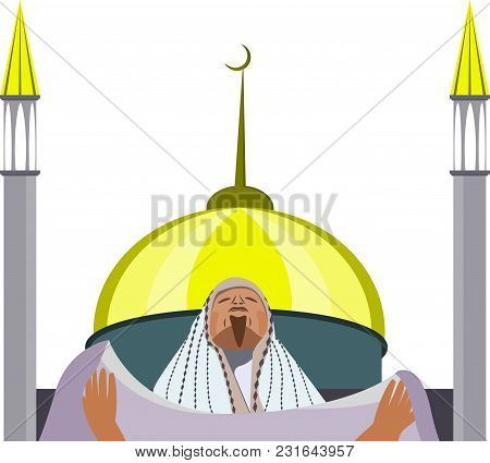 Muslim Praying Against The Background Of A Mosque, Design Element On Ramadan