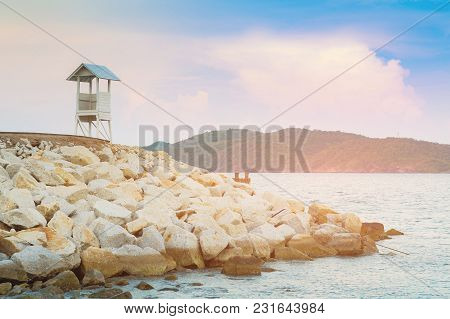White Stand Watching Lifeguard Over Sea Coast Skyline, Natural Landscape