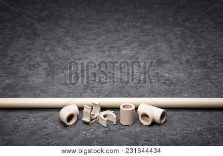 Plastic Water Pipes, Components For Conducting Water Pipes, Autonomous Heating, Textured Background,