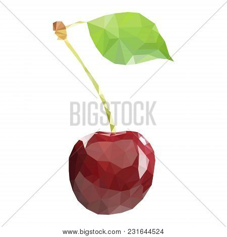 Polygonal Cherry In Vector. Cherry On White Background Isolated