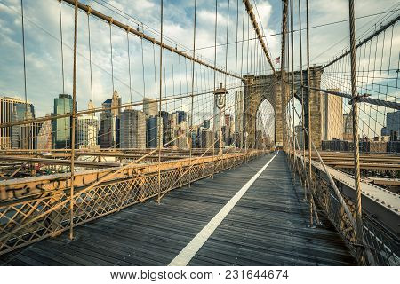 Famous Brooklyn Bridge In The Morning Light, Nyc.