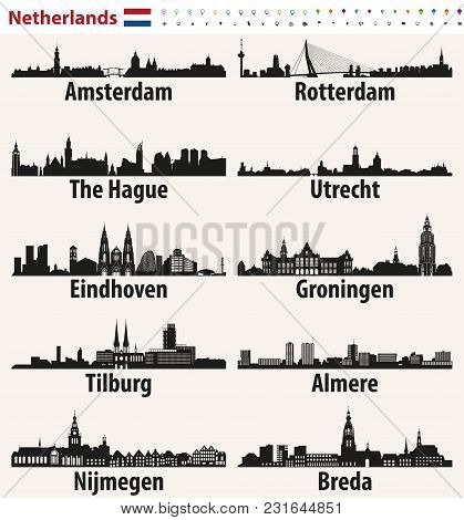 Netherlands Largest Cities Skylines Silhouettes Vector Set