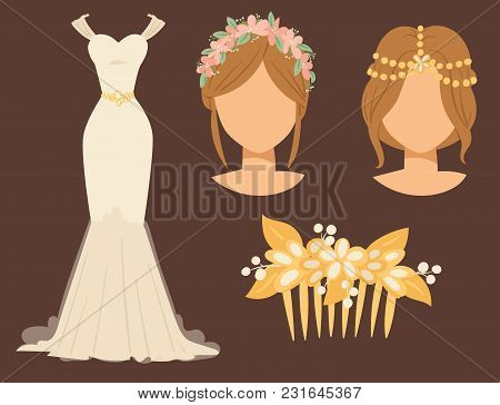 Wedding Bride Dress Accessory Vector Celebration Illustration Fashion Bridal Design Modern Accessori