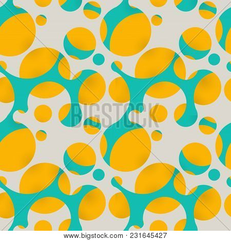 Crossed And Intertwined Multi-colored Circles. Seamless Circle Geometric Pattern