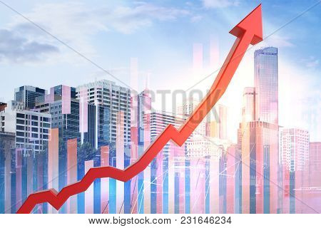 Abstract Upward Red Business Chart Arrow On City And Sky Background. Success And Finance Concept. Do