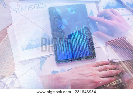 Hands Using Abstract Tablet With Forex Chart On Display. Accounting And Device Concept. Double Expos