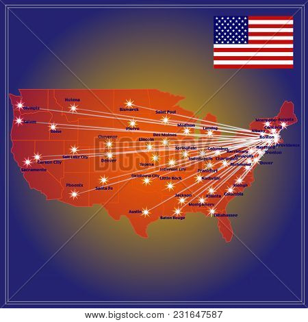 United States Of America Map. Map With Cities. Illustration.