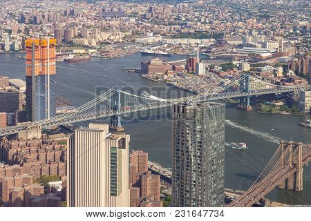 Aerial View Of Manhattan Skyline On A Sunny Summer Day.