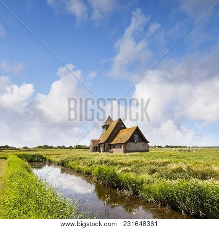 The Beautiful 18th Century Church Of Thomas A Becket At Fairfield, Romney Marsh, Kent, England, Stil