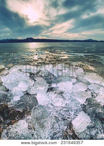 Climate Change. Detail Of Glacier Melting  In Bay. Spring Landscape With Melting Of Ice Floe.