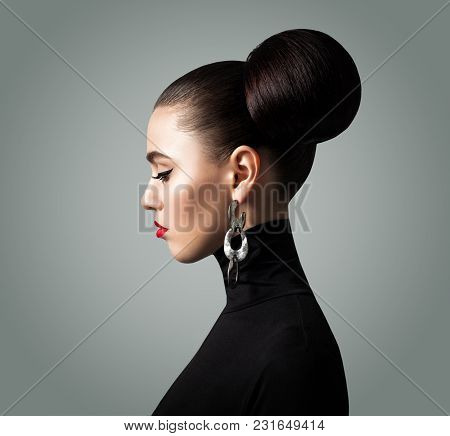 Young Woman Face. Cute Girl With Elegant Retro Style Hairstyle, Profile