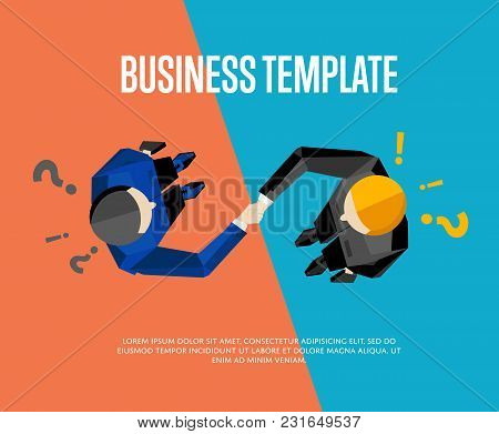 Business Template With Space For Text, Vector Illustration. Top View Of Businessmen Shaking Hands On