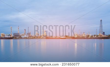 Panorama Oil Refinery Power Plant River Front At Twilight, Industry Background