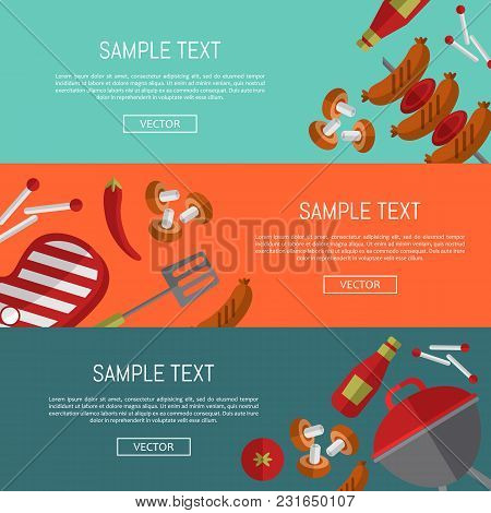 Bbq Website Templates, Vector Illustrations. Barbecue Banners With Grill And Food Design Elements On