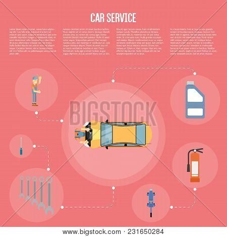 Infographics Of Scene Presents Workers In Car Service Tire Service And Car Repair Vector Illustratio