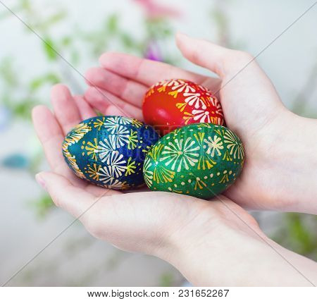 Colorful Easter Eggs In Girl Hands. Close Up.