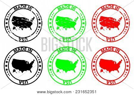 Made In Usa - Rubber Stamp - Vector, United States Of America Map Pattern - Black, Green And Red