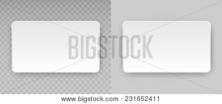 White Blank Horizontal Plastic, Paper Business Card Or Name Credit Card Template Isolated On Transpa