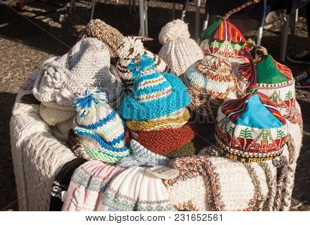 Funchal, Madeira, Portugal - September 2, 2016: Traditional Hats From Madeira In A Street Stall In F