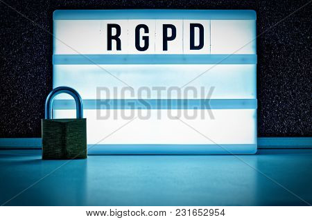 Lighted Board With Dsgvo (general Data Protection Regulation) In English Gdpr (general Data Protecti