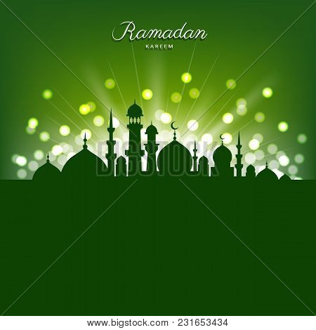 Mosque Silhouette And Abstract Light On Green Background For Ramadan Of Islam