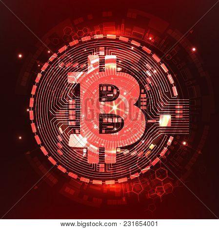 Abstract Technology Bitcoin Symbol. Virtual Money. Digital Currency. Vector Illustration