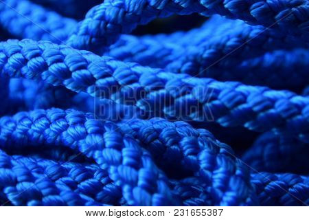Unusual Blue Background Of A Synthetic Or Nylon Rope