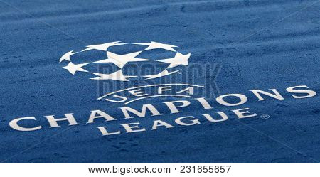 Kharkiv, Ukraine - February 21, 2018: Official Uefa Champions League Logo On The Carpet During Uefa