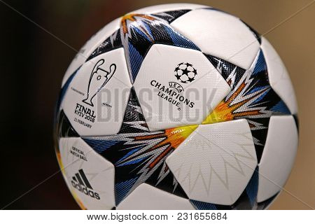 Kharkiv, Ukraine - February 21, 2018: Close-up Official Match Ball Of Uefa Champions League Final 20