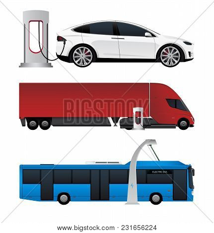 Set Of Electric Vehicles. Bus, Truck And Car Are Charging From Charging Stations. Vector Illustratio
