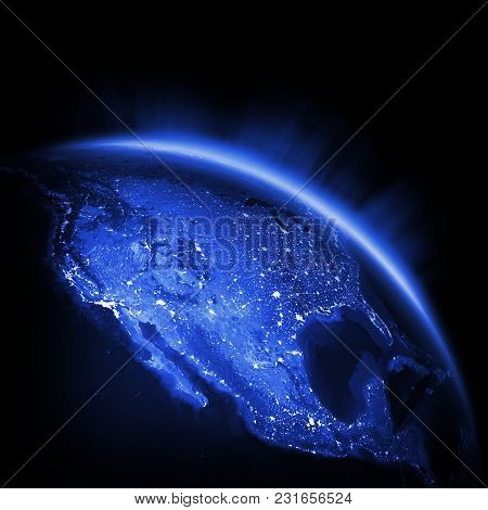Usa City Lights. Earth Lights 3d Rendering, Maps Courtesy Of Nasa