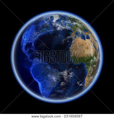 Transatlantic. Earth Space Model, Maps Courtesy Of Nasa 3d Rendering