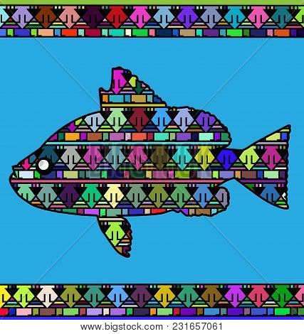 Abstract Colored Background Image Of Fish Consisting Of Lines And Triangles