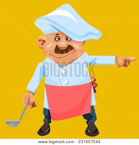 Cartoon Character A Man In The Form Of A Cook With Ladle