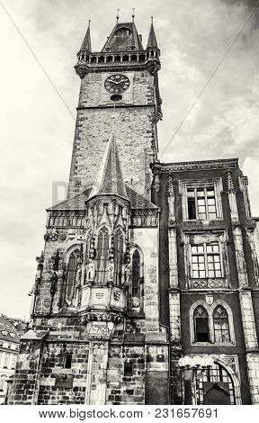 Old Town Hall In Prague, Czech Republic. Architectural Scene. Travel Destination. Black And White Ph