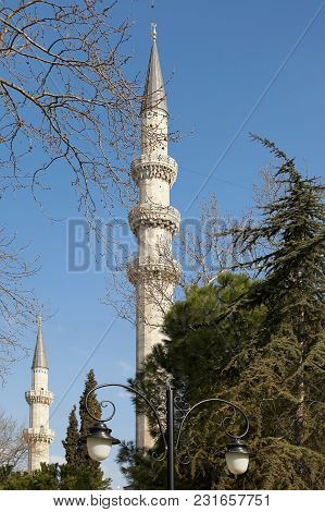 Istanbul, Turkey - March 27, 2012: Minarets Of The Suleiman Mosque.
