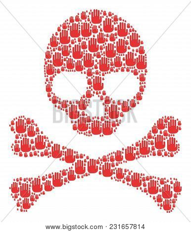 Skull Pattern Done Of Stop Hand Design Elements. Vector Stop Hand Elements Are Combined Into Mosaic