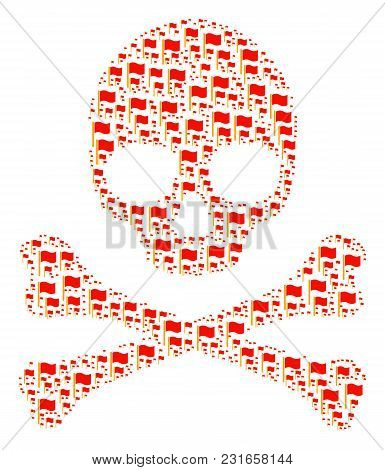 Skull Pattern Done Of Waving Flag Pictograms. Vector Waving Flag Icons Are United Into Geometric Sca