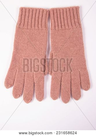 Pair Of Woolen Gloves For Woman On White Background, Warm Clothing For Autumn Or Winter.