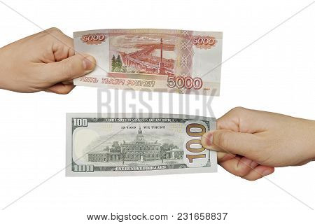 Hands Exchange Rubles For Dollars. People Exchange Currency, Hands Transmit Money. Hand Holds Ruble