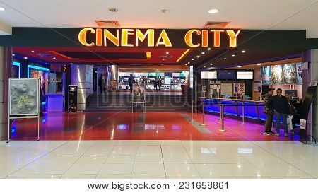 Bacau, Romania - March 17:  Cinema City In A Commercial Center.  Arena Mall Bacau Is A Shopping Cent