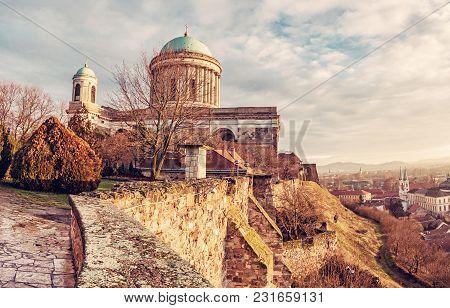 Beautiful Basilica In Esztergom Et Sunset, Hungary. Cultural Heritage. Travel Destination. Largest B