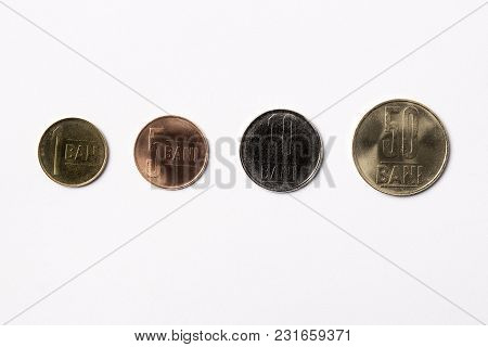 Romanian Coins - Bani On A White Background