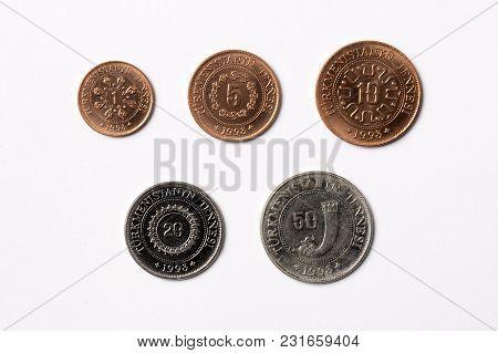 Turkmenistan Coins - Tenge On A White Background