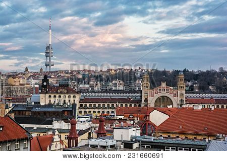 Zizkov Television Tower And Historic Building Of Central Railway Station, Prague, Czech Republic. Ar