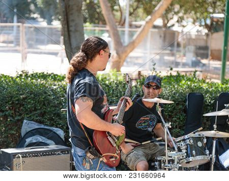 Tel Aviv-yafo, Israel, March 17, 2018 :  Street Musicians Play Music On The Street For Passers-by In