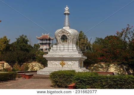 Lumbini, Nepal - November 17, 2016: Stupa At Geden International Monastery Austria Temple In Lumbini
