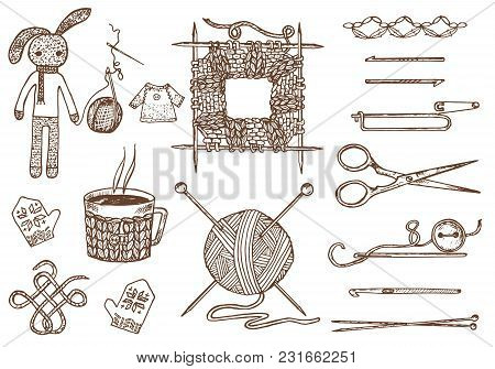 Set Tools For Knitting Or Crochet And Materials Or Elements For Needlework. Club Sewing. Handmade Fo